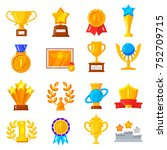 award trophy icon set. gold... | Shutterstock .eps vector #752709715