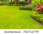 green lawn  the front lawn for... | Shutterstock . vector #752711779