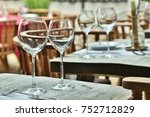 table setting with wine glasses ... | Shutterstock . vector #752712829