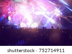 colorful fireworks and crowd...   Shutterstock . vector #752714911