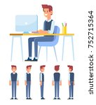 office worker guy. young man is ... | Shutterstock .eps vector #752715364