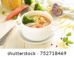 chicken soup with vegetables... | Shutterstock . vector #752718469