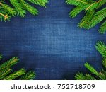 dark blue denim background ... | Shutterstock . vector #752718709