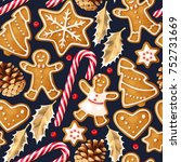 winter seamless patterns with... | Shutterstock .eps vector #752731669