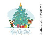 christmas background with... | Shutterstock .eps vector #752734717