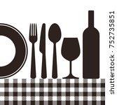 bottle  wineglass  plate  knife ... | Shutterstock .eps vector #752735851