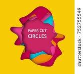 abstract 3d paper cut...   Shutterstock .eps vector #752755549