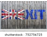brexit   flags of the united... | Shutterstock . vector #752756725