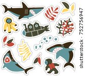 sticker set with angry sharks ... | Shutterstock .eps vector #752756947