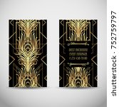 art deco style business card.... | Shutterstock .eps vector #752759797