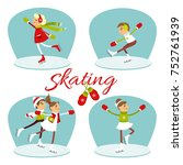set of illustration with kids... | Shutterstock .eps vector #752761939