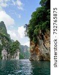 karst mountains of lake cheo... | Shutterstock . vector #752765875