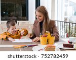 mother and son in the... | Shutterstock . vector #752782459