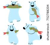 polar bears set with fish. cute ... | Shutterstock .eps vector #752788204