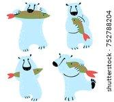 polar bears set with fish. cute ... | Shutterstock .eps vector #752788204