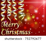 merry christmas on red... | Shutterstock . vector #752792677