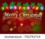merry christmas on red... | Shutterstock . vector #752792719