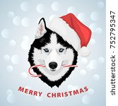 dog portrait in a red santa's... | Shutterstock .eps vector #752795347