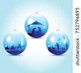 christmas balls with nativity... | Shutterstock .eps vector #752796895