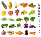collection of fresh fruits and... | Shutterstock . vector #752803435