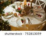 beautiful served table with... | Shutterstock . vector #752813059