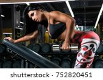 sexy tanned athletic fitness... | Shutterstock . vector #752820451