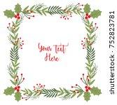 christmas wreath frame | Shutterstock .eps vector #752823781