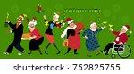 group of senior citizens... | Shutterstock .eps vector #752825755