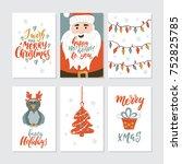 vector merry christmas greeting ... | Shutterstock .eps vector #752825785