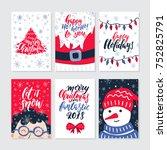 vector merry christmas greeting ... | Shutterstock .eps vector #752825791