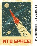 vector space poster. stylized... | Shutterstock .eps vector #752828755