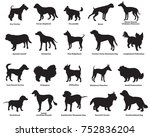 Stock vector vector set of different breeds dogs silhouettes isolated in black color on white background part 752836204