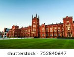 Small photo of Belfast, UK. The Lanyon Building, Queen's University Belfast, Northern Ireland, UK in the evening with cloudless blue sky