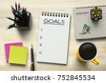 new year goals  resolutions or... | Shutterstock . vector #752845534