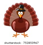 a cartoon turkey. stylized... | Shutterstock .eps vector #752853967