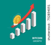 bitcoing growth flat isometric...