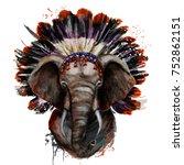watercolor portrait of an... | Shutterstock . vector #752862151