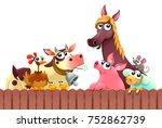 funny farm animals smiling near ... | Shutterstock .eps vector #752862739