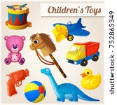 set of kids toys. cartoon... | Shutterstock . vector #752865349