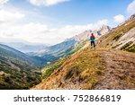 mountains  runner  sport  gir ...   Shutterstock . vector #752866819