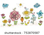 kid's drawing of flowers and... | Shutterstock . vector #752870587