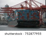 ship filled with containers at... | Shutterstock . vector #752877955