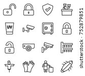 thin line icon set   unlock ... | Shutterstock .eps vector #752879851