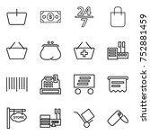 thin line icon set   basket ... | Shutterstock .eps vector #752881459