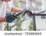 work of the welder in the... | Shutterstock . vector #752884069