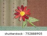 quilt   red flower   Shutterstock . vector #752888905
