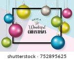 christmas banner design with... | Shutterstock .eps vector #752895625