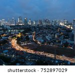 aerial view of a traffic jam on ...   Shutterstock . vector #752897029