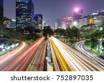 traffic captured with blurred... | Shutterstock . vector #752897035