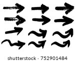 hand drawn arrows  vector brush ... | Shutterstock .eps vector #752901484